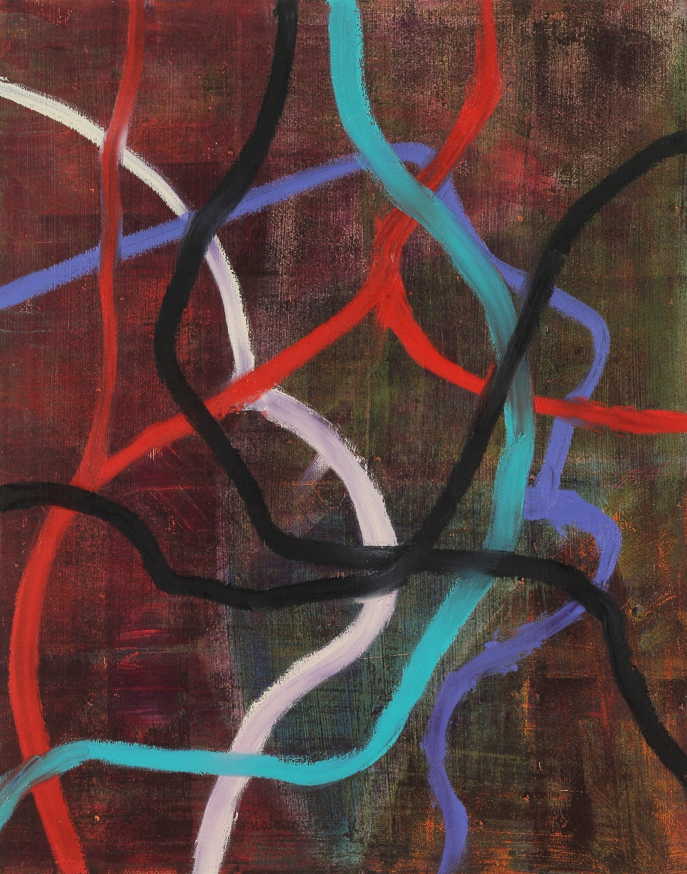 Entanglements #2, 2015, oil, wax, mixed media on panel, 20 x 16""