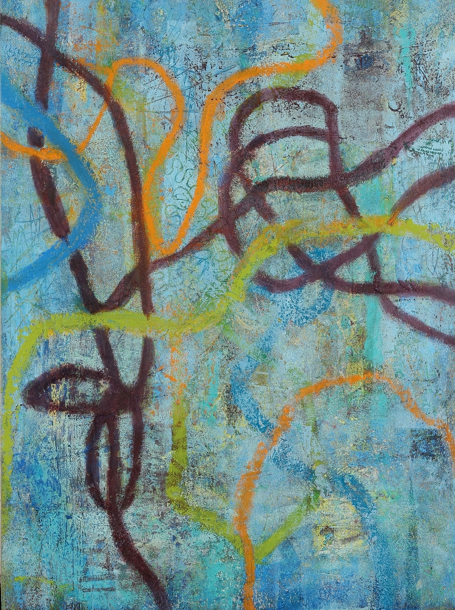 Entanglements #9, 2016, oil, mixed media on paper on panel, 12 x 9""
