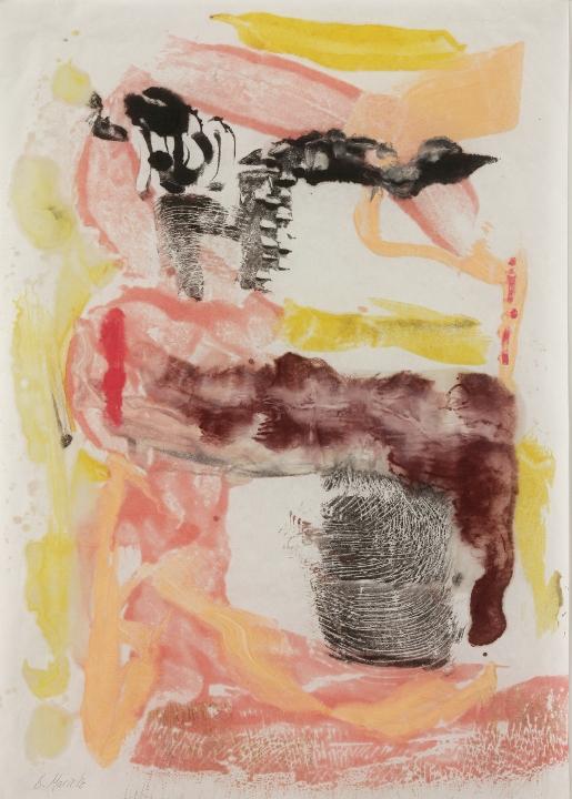 "Flowstone #3, 2016, Encaustic monotype , 17 x 12"""