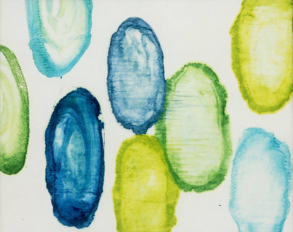 "Submerge #1, 2014, Encaustic monotype on Kozo, 9 x 11"""