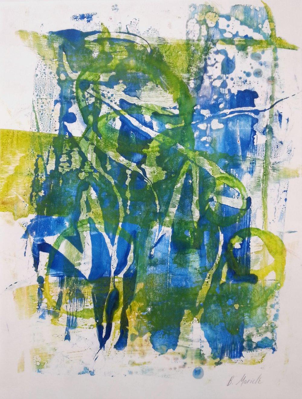 "Undergrowth, 2015, Encaustic monotype on Masa, 14 x 11"""
