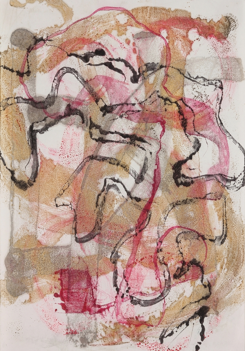 Line Work #14, 2015, Encaustic monotype on Masa, 15 x 11""