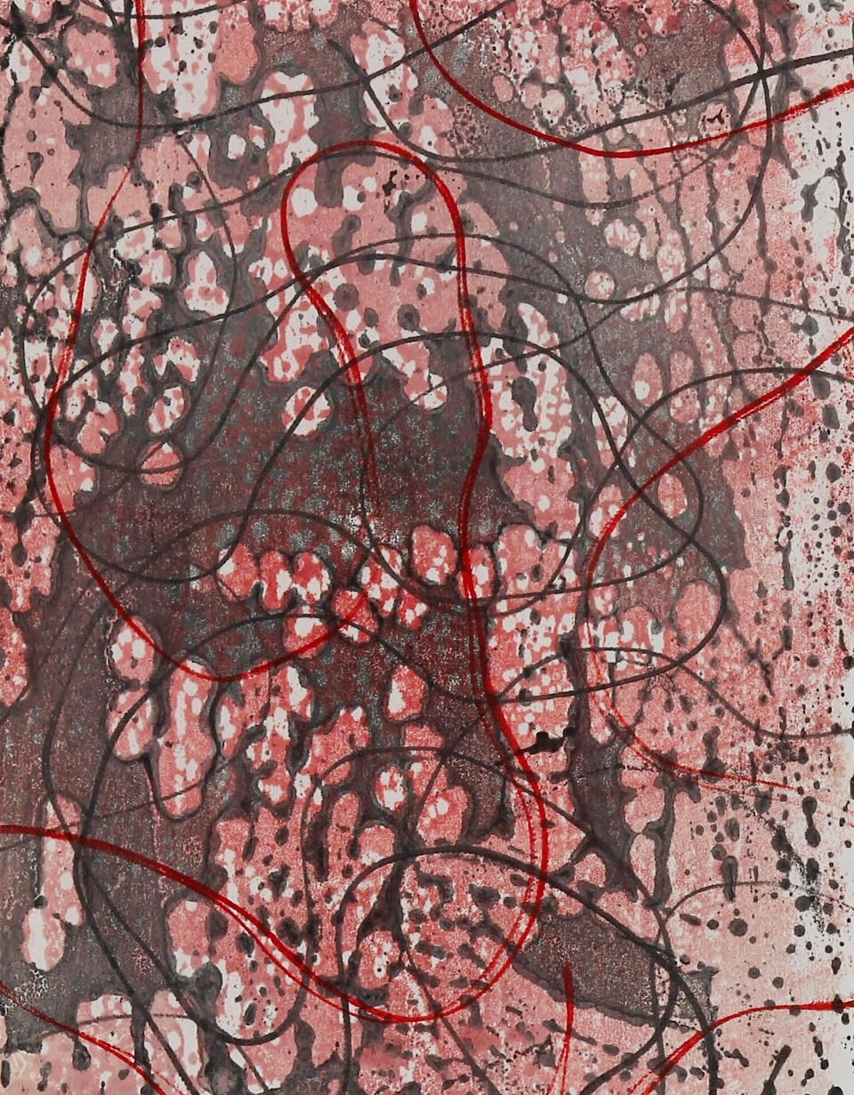Line Work #6, 2014, Encaustic monotype, 10 x 8""