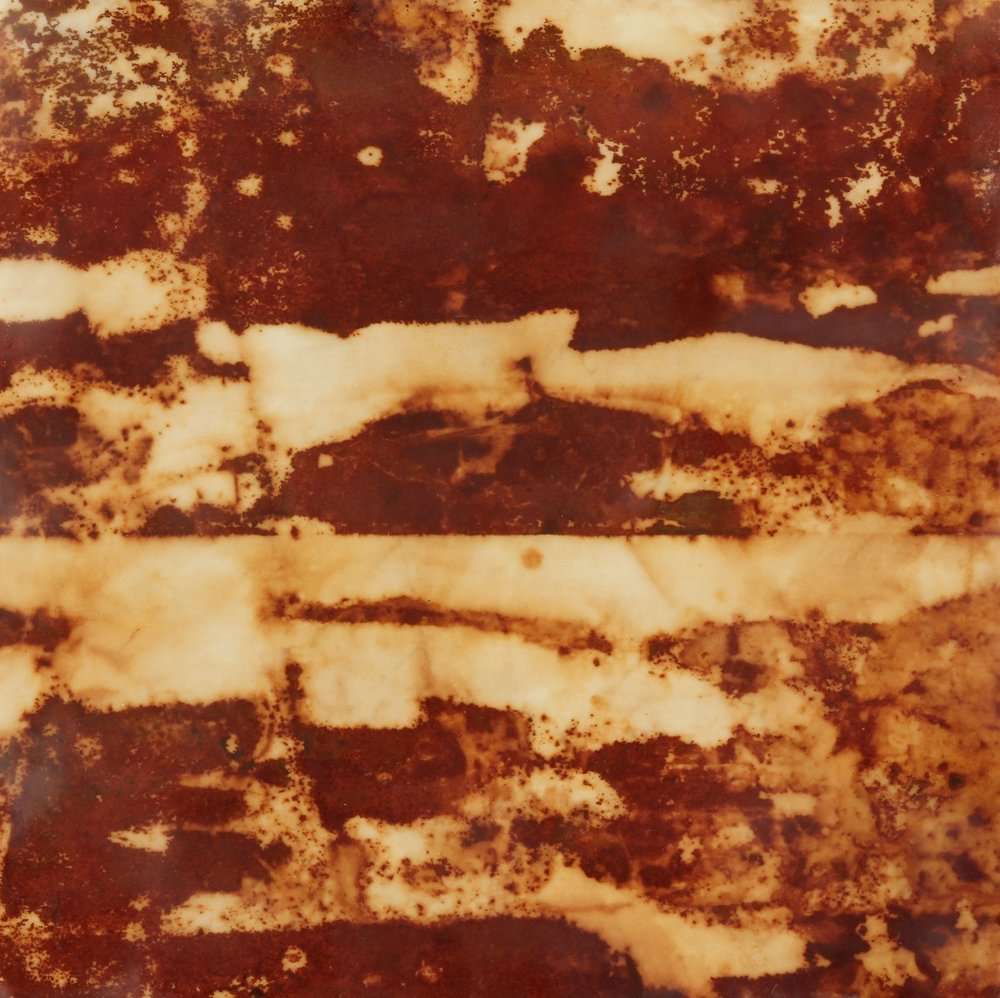 Rust #26, 2013, Rust, encaustic on paper on panel, 12 x 12""
