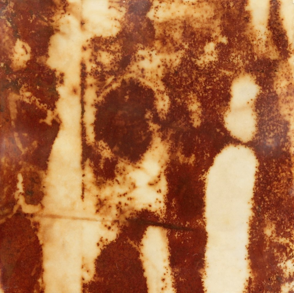 Rust #11, 2013, Rust, encaustic on paper on panel, 6 x 6""
