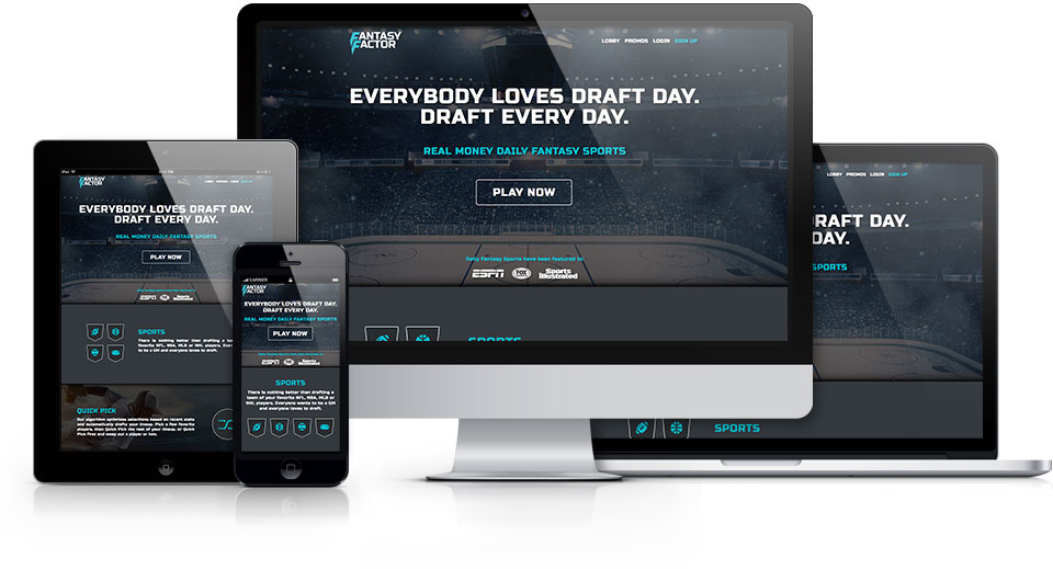 FantasyFactor.comis a popular online gaming website Research, Wireframe, Prototype, Interaction Design, Visual Design and Front-End Development using Boostrap, jQuery, HTML5 and CSS3.