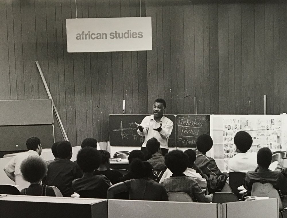 At top, a picture of African Studies teacher George Simmonds, also known for preaching on nearby Harlem street corners. Courtesy of University of Texas Briscoe Center.
