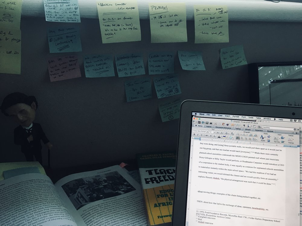 A sneak peak into my work space -- post-it notes are starting to take over! Chapter Three in progress...
