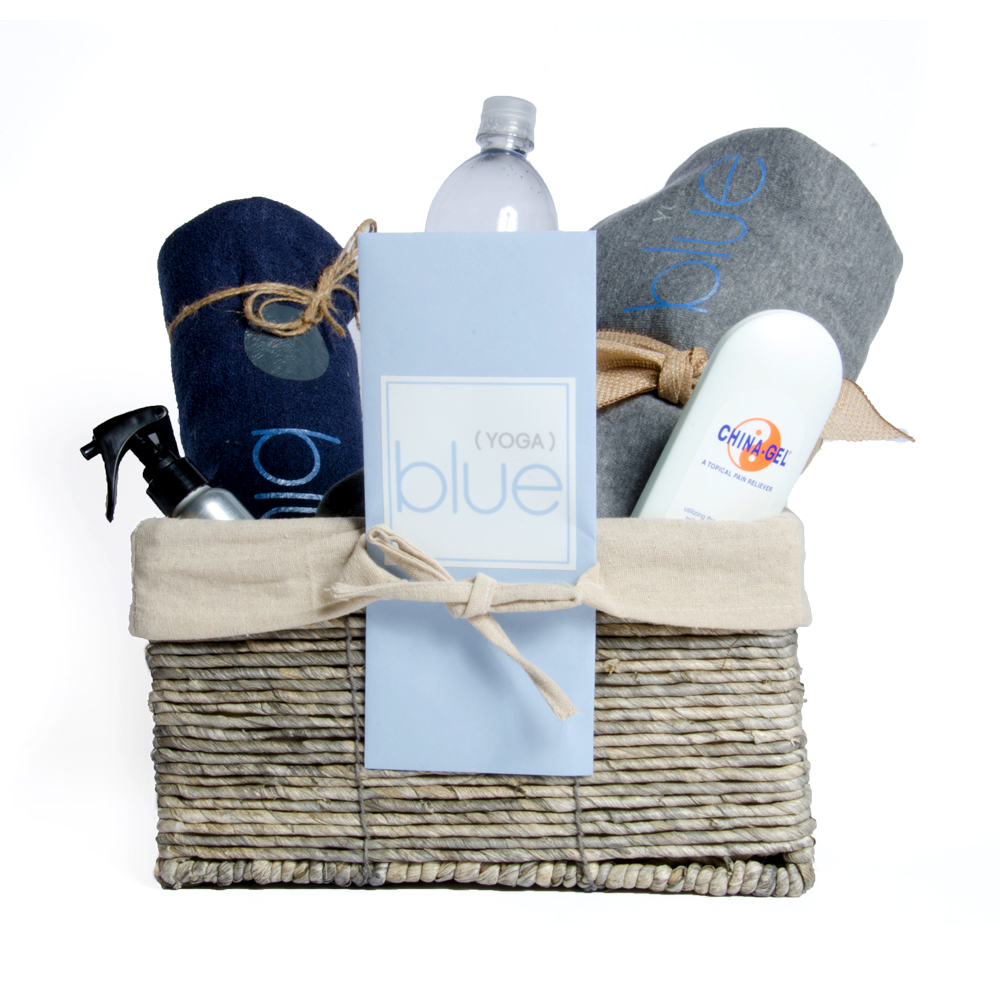 Customizable blue(yoga) Gift Basket