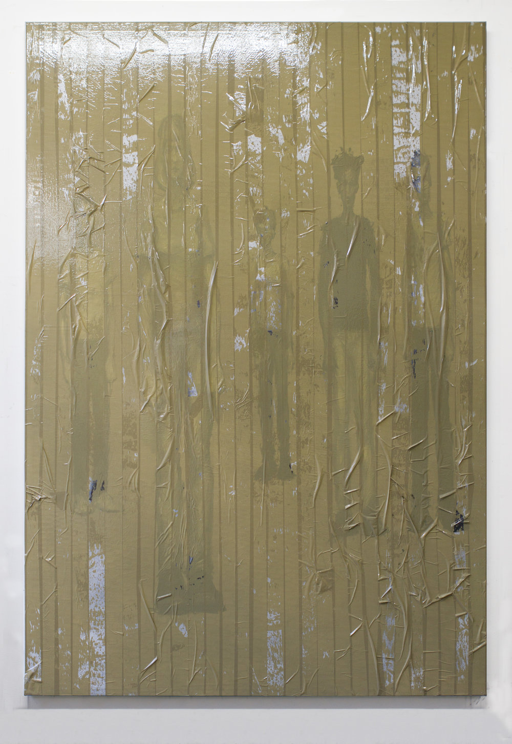 Punks Not Dead 2017 oil and packing tape on linen 70 x 48 inches