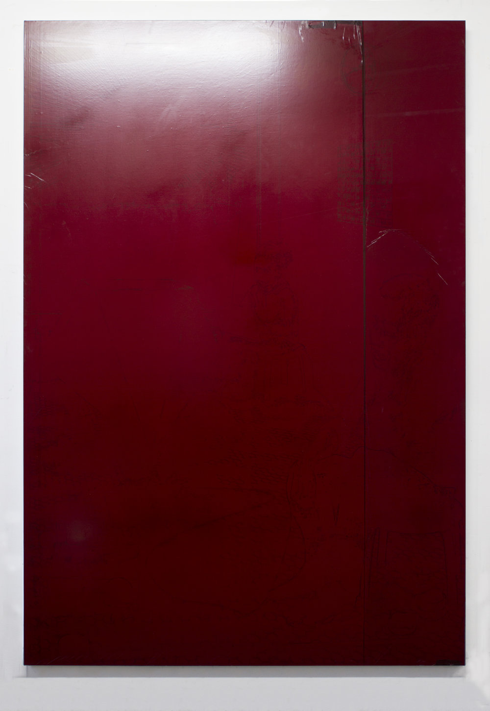 Rubylith 2018 Rubylith on linen 70 x 48 inches
