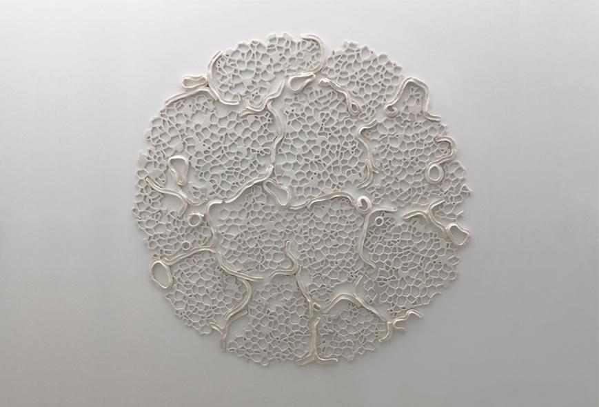 """Tondo VI, 2015.  Cast Resin and ceramic, 67"""" diameter"""