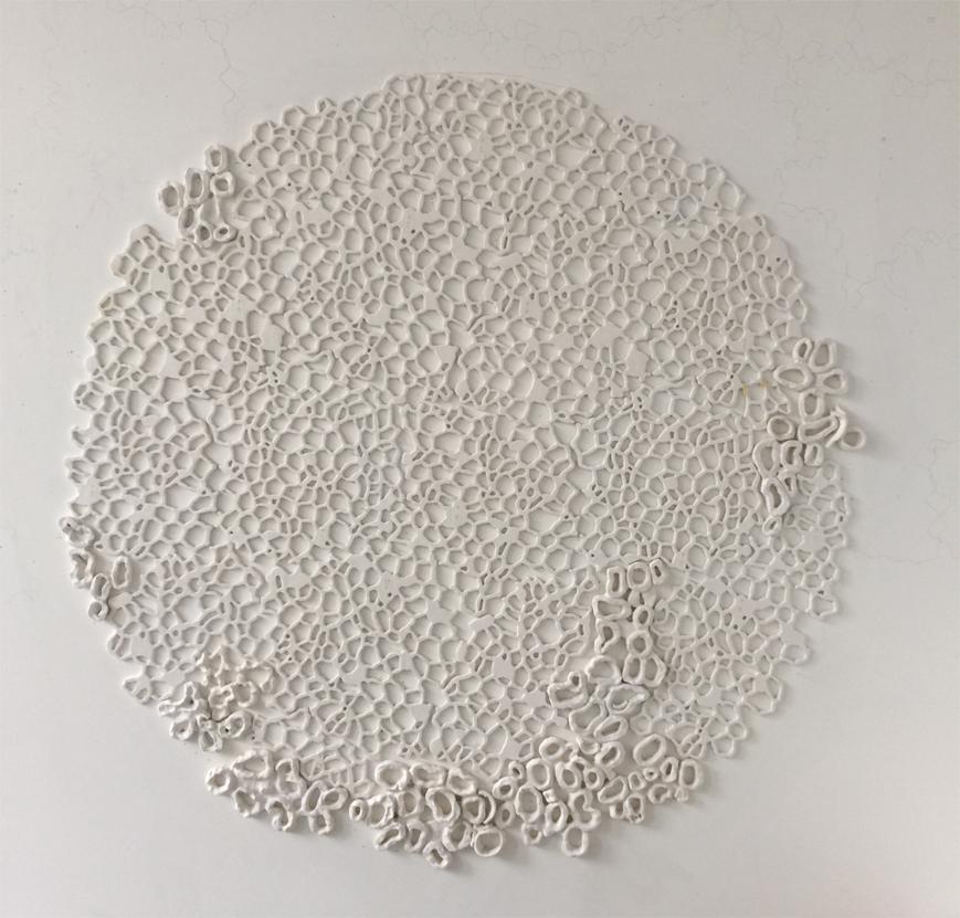 """Tondo III, 2014.  Cast Resin and ceramic, 67"""" diameter"""