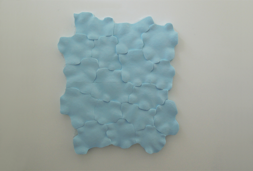 "Body of water, your body #1, 2013.   Styrofoam, 46""h X 39""w X 2""d"