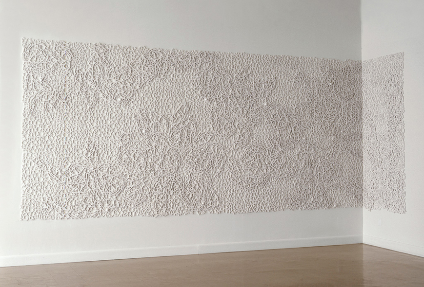 "Field I, 2007.   Cast Resin, 94""h x 206""w x 2""d and 94""h x 42""w x 2""d   Museo del Barrio, New York"