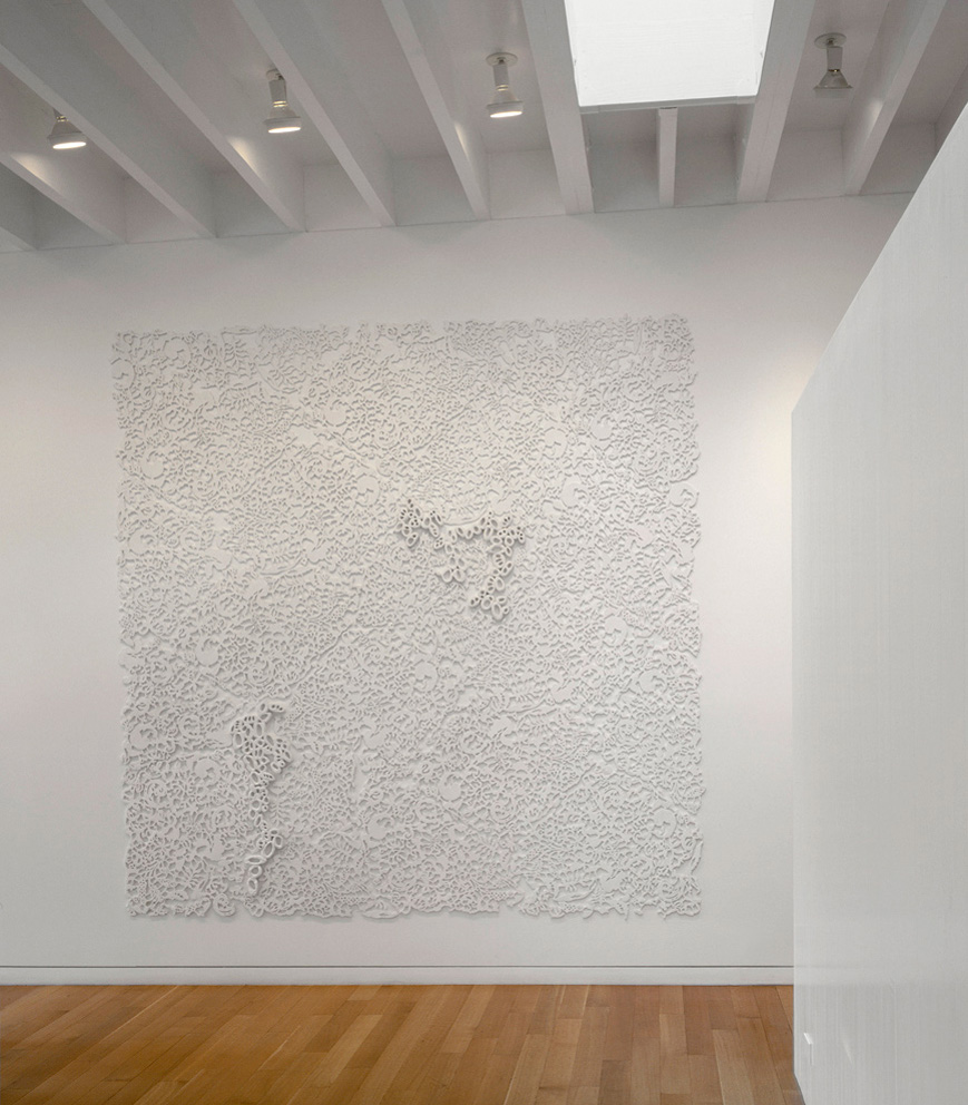 "Relief I, 2002-2003.   Cast Resin, 102""h x 102w"" x 2d"""
