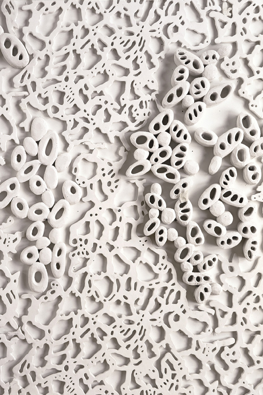 "Relief II, 2003. Cast Resin, 102""h x 102""w x 2""d, detail"