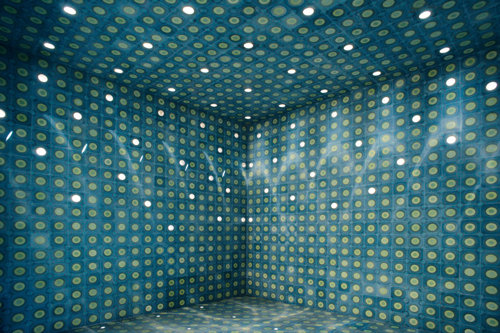 Blue Oasis, San Luis Potosi, Mexico, 2011.   Permanent collection Sculpture Park San Luis Potosi.   Detail tiled main space with wall and ceiling perforations.