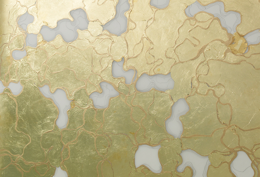 "El Dorado, detail wall 1, 2012-14.   Gold leaf and ink on Mylar, 31""W x 40""H."