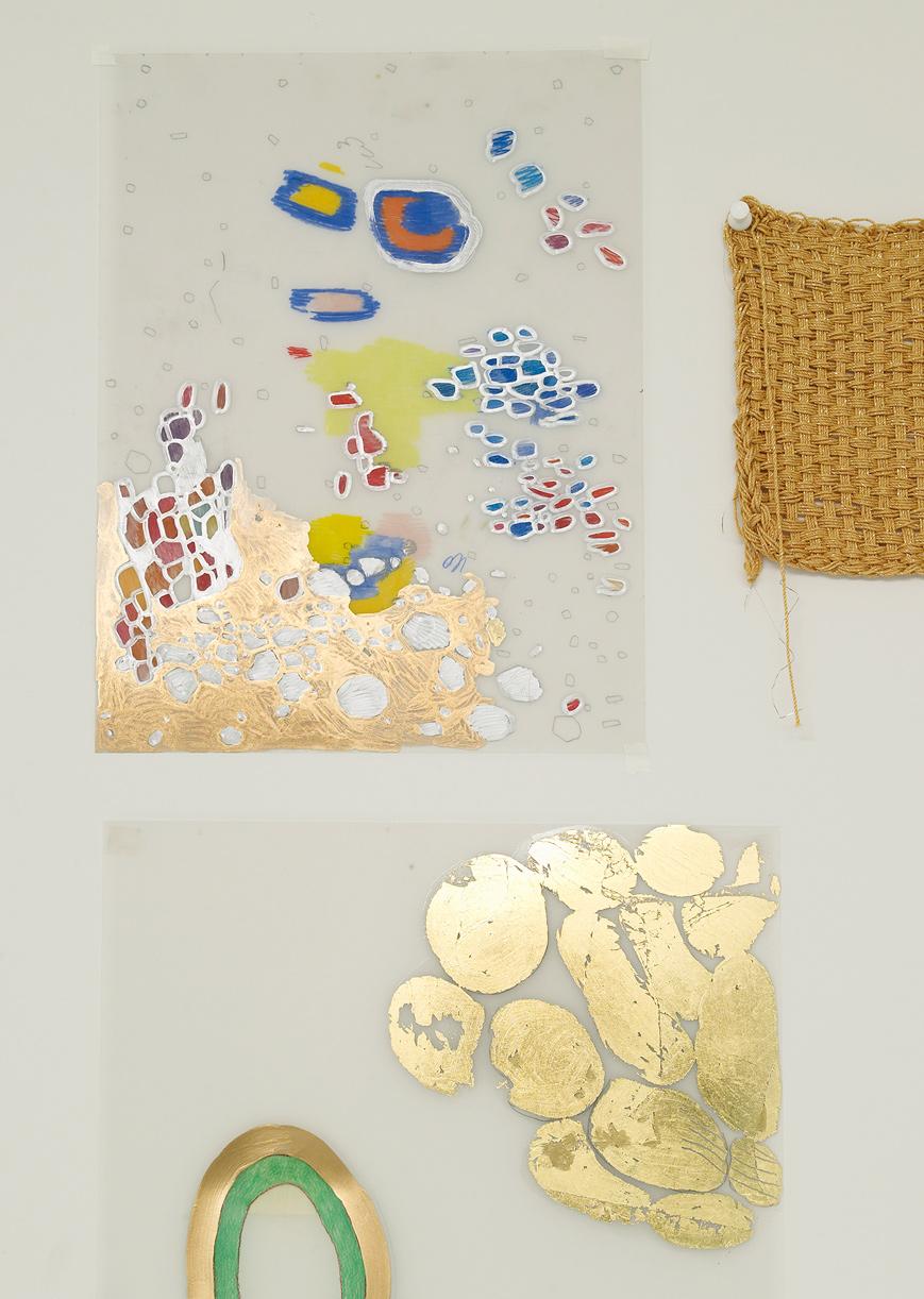 El Dorado, detail wall 2, 2008-14.Gold leaf, ink, color pencils on Mylar and gold string.
