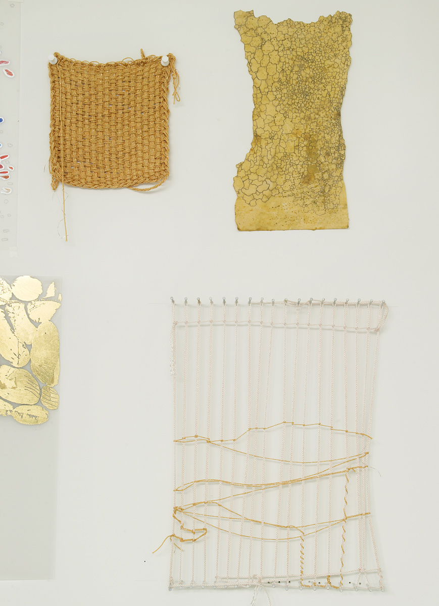 El Dorado, detail wall 2, 2008-14.   Gold leaf on Mylar, gold string and nails.