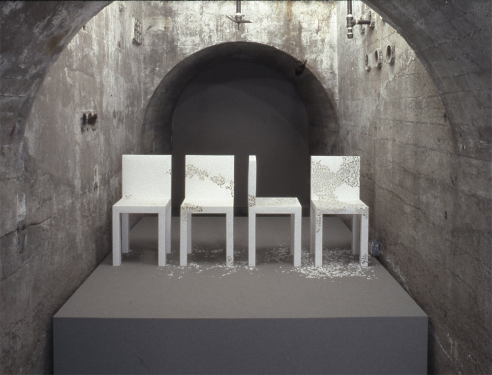 "Patience, SculptureCenter, New York, 2004.   Cardboard, 14""d X 14""w X 28""h each piece."