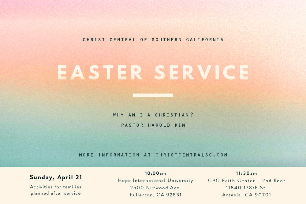 Easter Sunday is April 21! Invite a friend or family member to join us as we celebrate the resurrection of our Savior, Jesus Christ. Both campuses will have special snacks and refreshments as well as activities for children following the worship service. If you would like postcards to pass out as invites, please contact office@christcentralsc.com.  We will also have Adult Baptism and Confirmation at both services.   Daily devotionals, written by our Pastoral Staff, are provided on our website during Passion Week (April 15-18)!  christcentralsc.com/passionweek