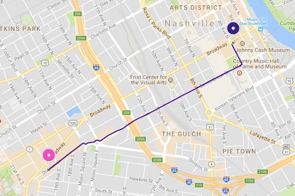 Downtown Nashville to Midtown - Lyft Nashville