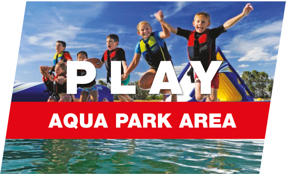 Our Aqua Park has a series of inflatable slides, runways, jumping pillows and structures all connected together on the lake.
