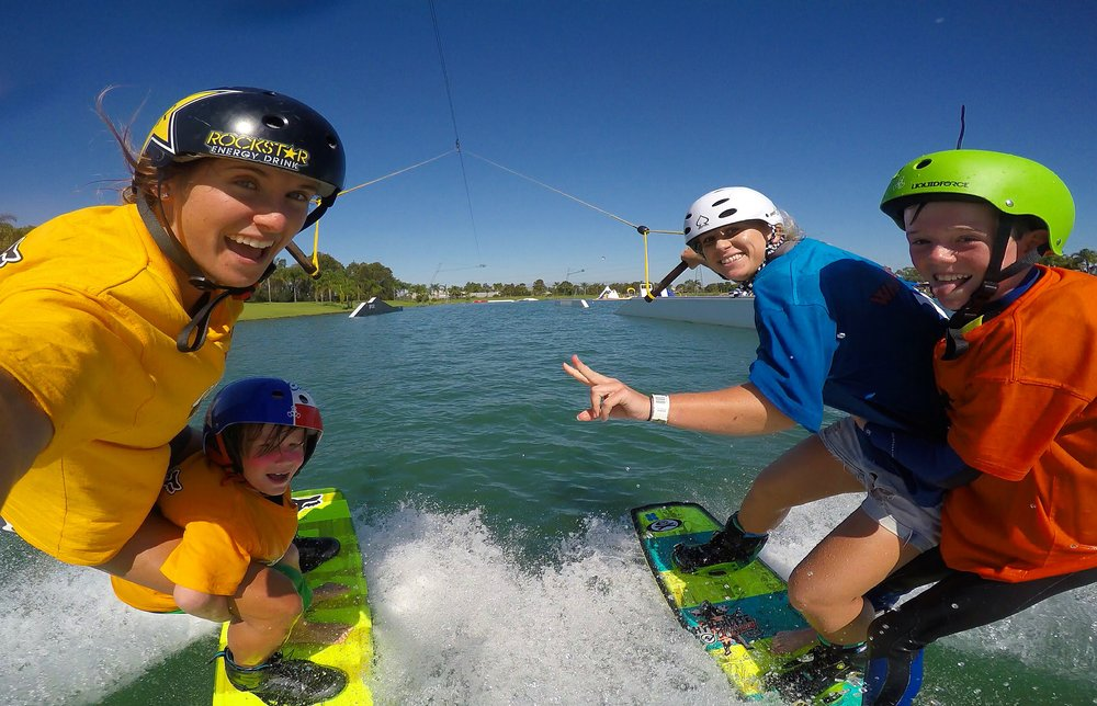 World Champion Wakeboarder and resident coach, Courtney Angus and guest coach, Charlotte Bryant (World Cup Champion)!