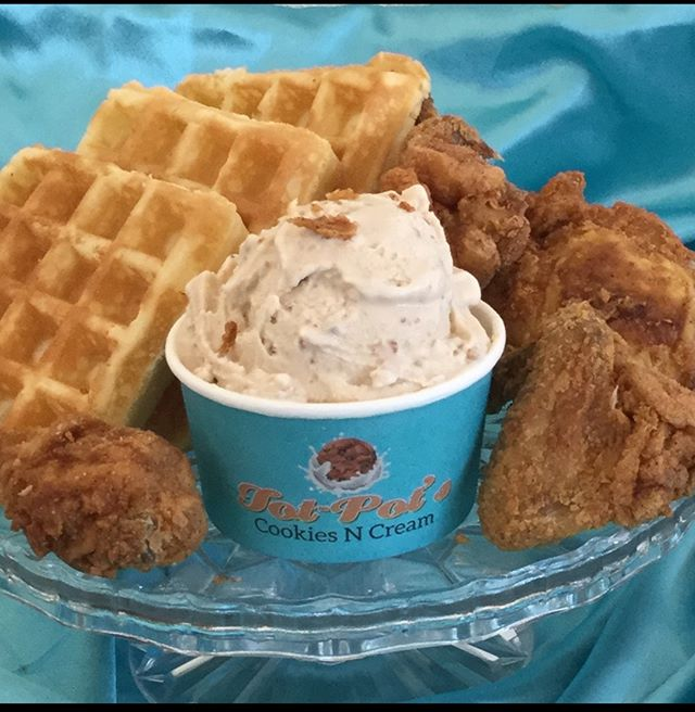 CHICKEN and WAFFLES ICE CREAM It will be available at #tasteofinglewood2018  #chickenandwaffles #totpotscookies  #bestcookiesincali #waffles  #friedchicken