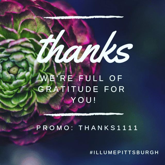 Thanks for being so awesome and such an inspiration to us! Take 20% off all of our services, packages and memberships! Only available until 11/26! Use promo code: THANKS1111