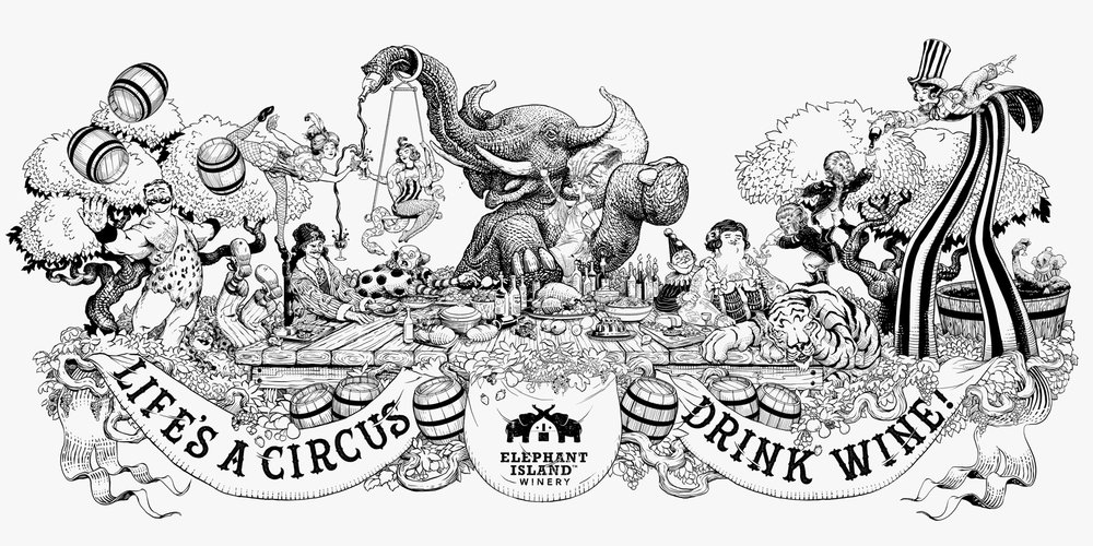 Life's a Circus: Drink Wine, final illustation