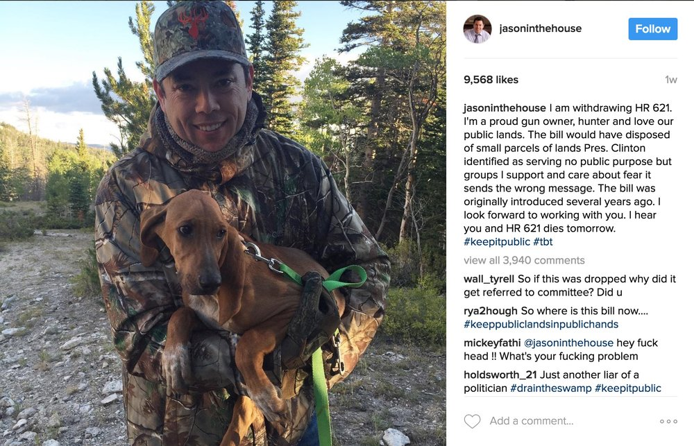 Here's Chaffetz posing for Instagram, reminding everyone what a nature lover he is.  via  Instagram