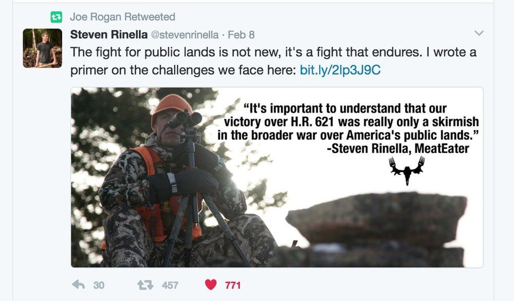 Joe Rogan retweeting Steve Rinella's article via  Twitter