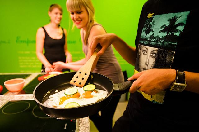 Fried eggs skills mean good company. Wombats City Hostel via Flickr