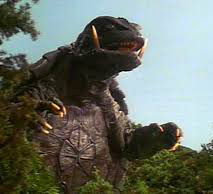 This is Gamera the monster tortoise. Despite his Godzilla size and fire-jet propulsion he was humiliated by a hare.