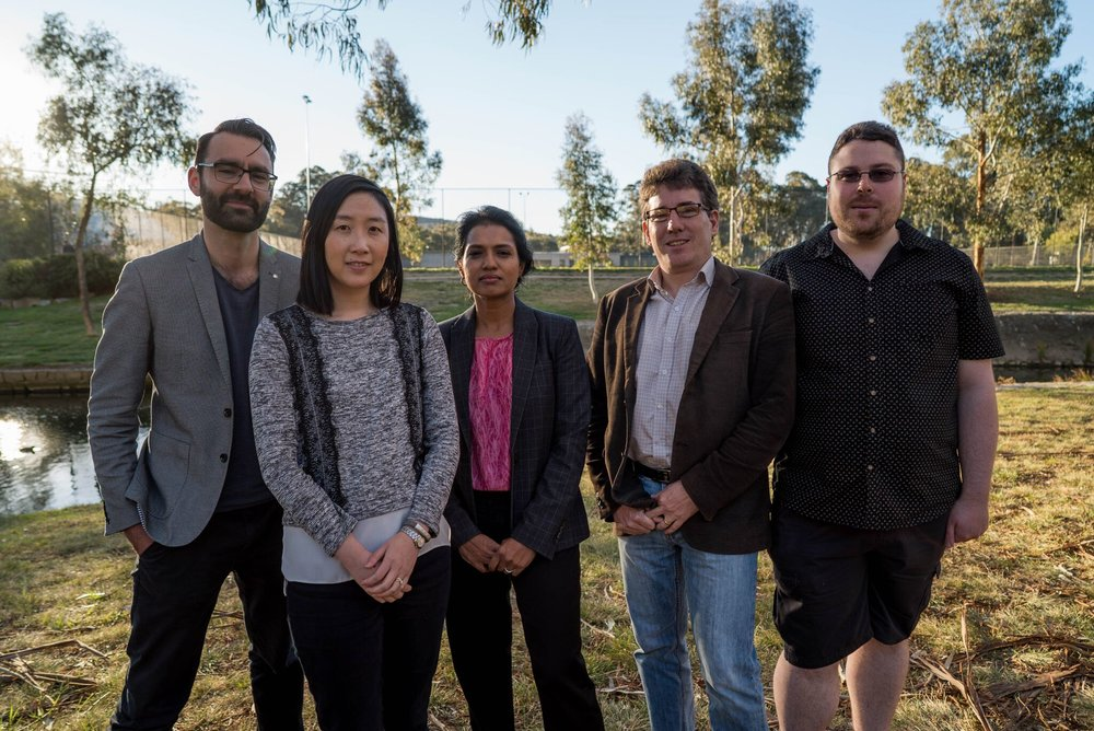 The QuestaGame Team. From left to right: David Haynes, Michelle Gordon, Mallika Robinson, Andrew Robinson, and Elliott Osbourne (absent: Sean Wei and Priyank Tiwari).