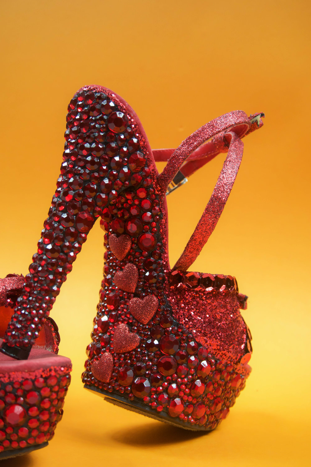 94dfb0dbd Red Pumps: A Crystal strappy heel inspired by Christian Louboutin. A DIY to  make