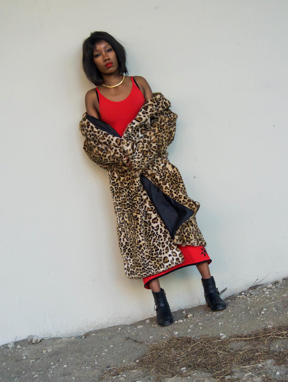 ASOS Red BodyCon Dress - Leopard Fur Coat