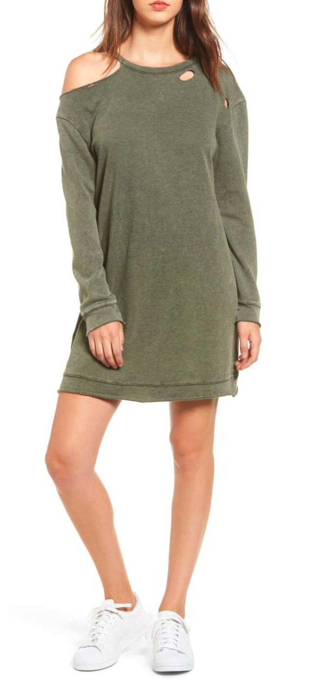 Ripped Sweatshirt Dress