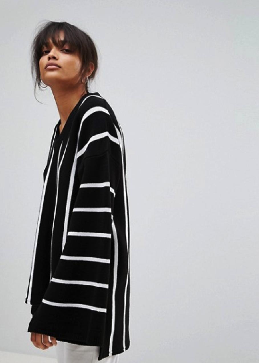 Boohoo Wide Sleeve Striped Oversized Sweater