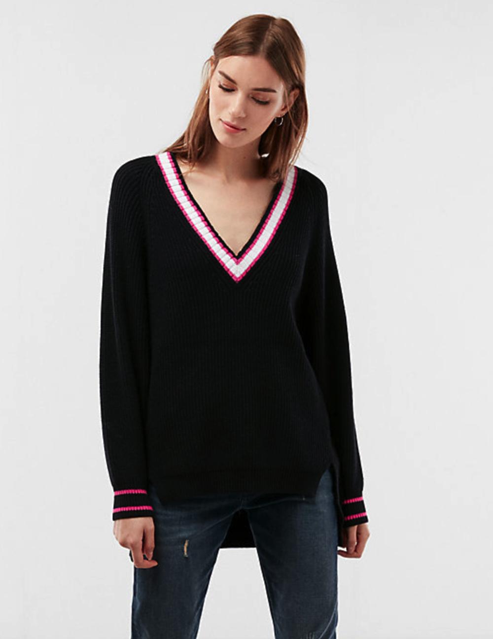 Oversized Striped Deep V-Neck Tunic Sweater