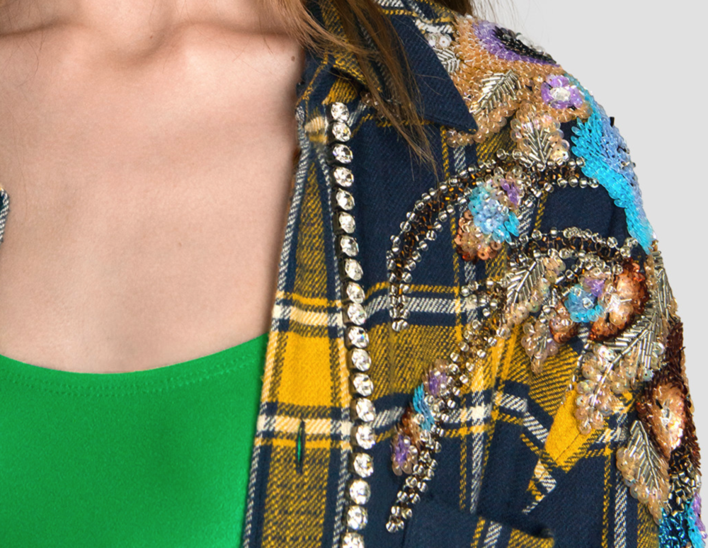 Enlarged details featuring sequin embroidered appliqués.  (Source: Gucci)