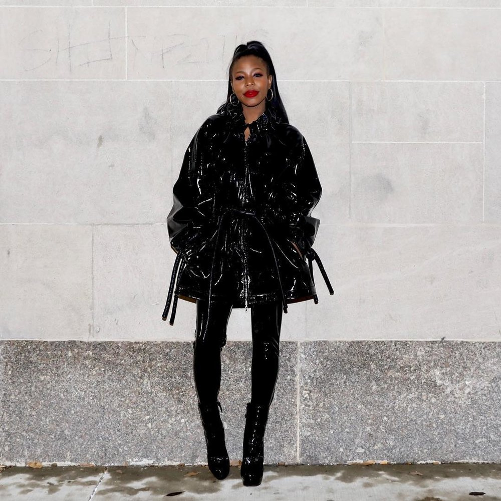 Kahlana Barfield in All Black Patent Leather via  Instagram