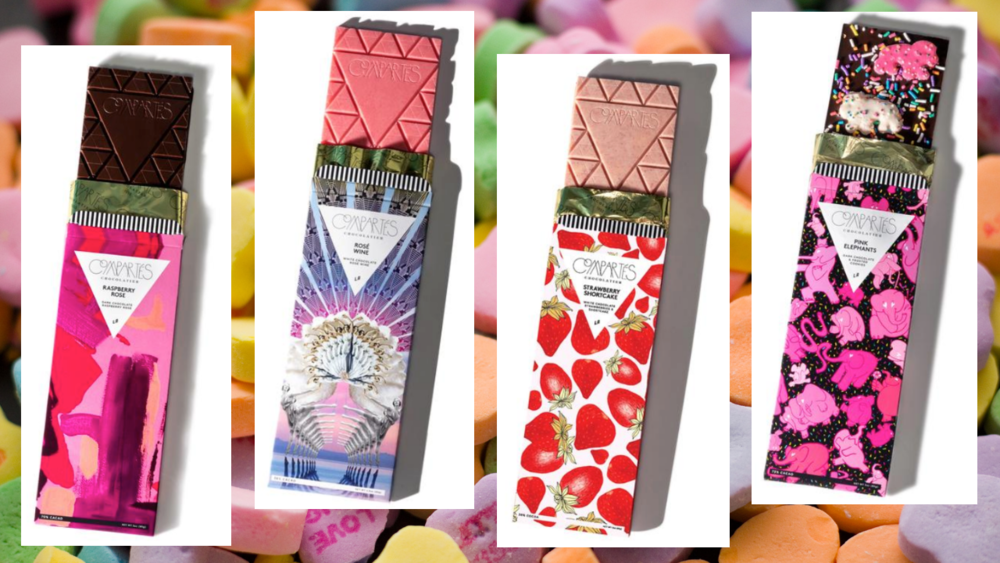 In order from left to right:    Raspberry Rose Dark Chocolate Bar   •   Rosé Wine Pink Chocolate Bar  •  Strawberry Shortcake White Chocolate Bar  •  Pink Elephants Dark Chocolate Bar