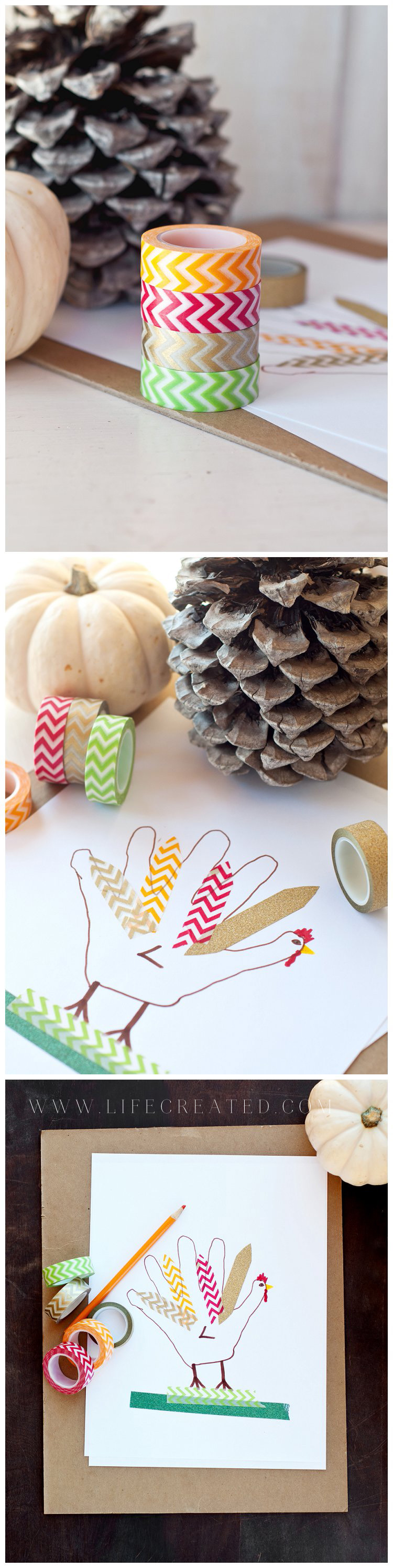 washi tape turkey handprint craft