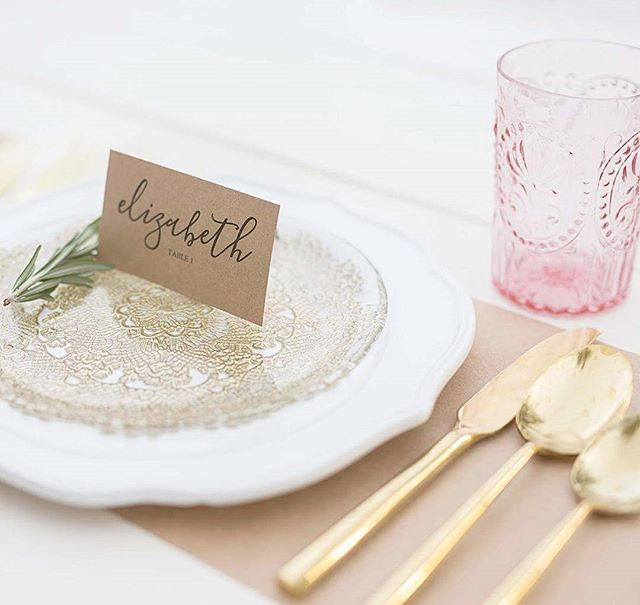 I think pink and gold's look so pretty together.  #tablestyling #placesetting #anthropologie #tabledecor #tabledetails #detailsphotographer #azphotographer #commercialphotographer #stylemepretty #stilllifephotographer #foodphotographer #pink #gold #placecards #weddingdetails #azphotographer #honeysilkbrandsearch