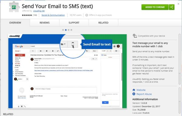 Send text messages to any mobile number directly from Gmail