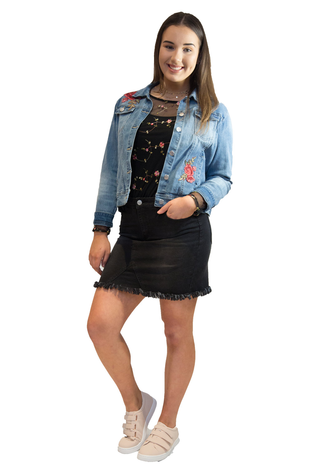 KMART /  BLACK DENIM SKIRT  /  $20.00  SUZANNE GRAE /    JACKET  /  $79.95  JEANSWEST /  NECKLACE  /  $34.99  KMART /  PINK SNEAKERS  /  $17.00